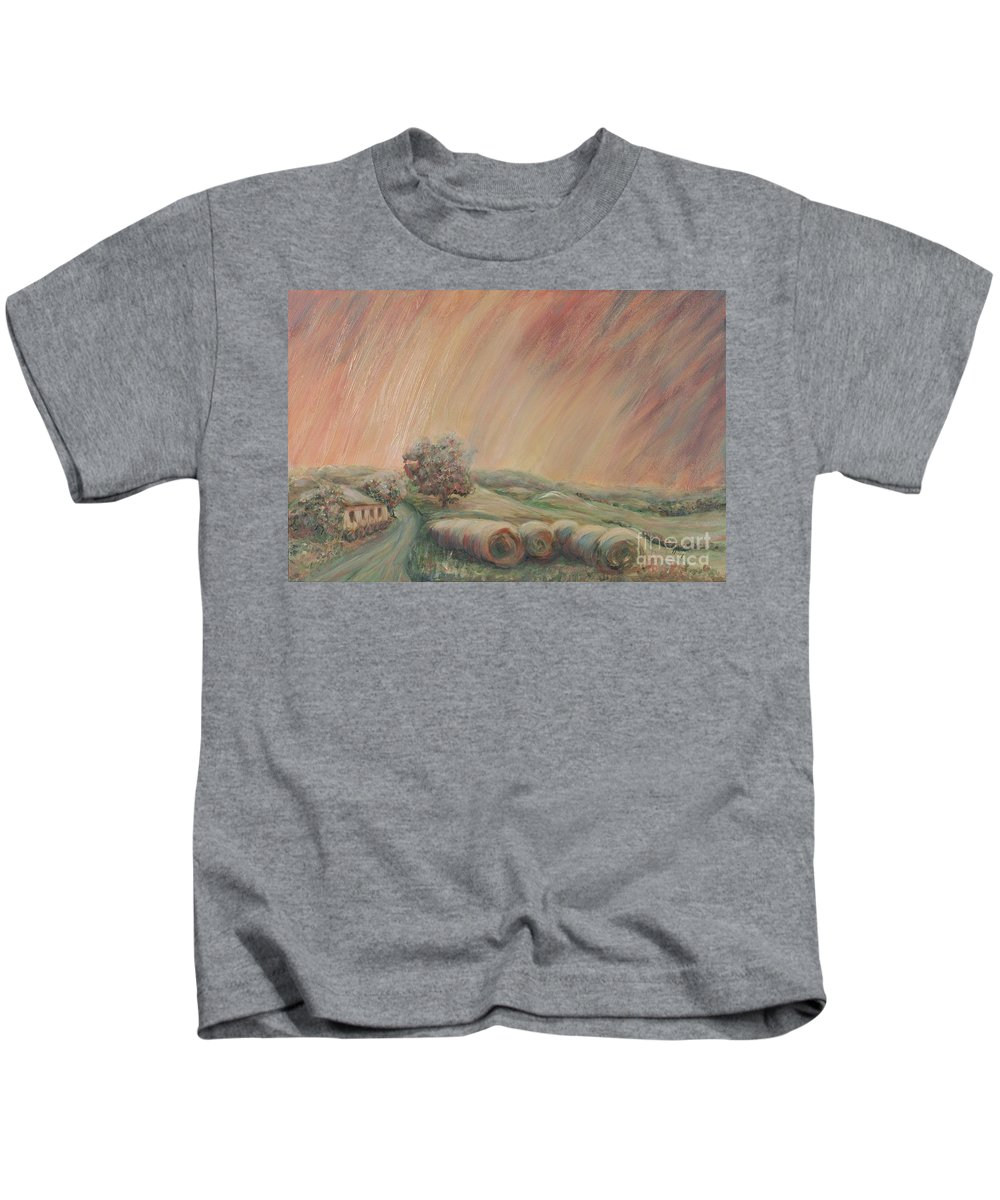 Landscape Kids T-Shirt featuring the painting Tuscany Hayfields by Nadine Rippelmeyer