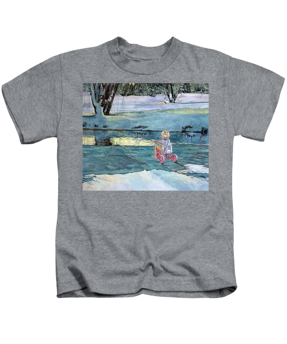 Children Kids T-Shirt featuring the painting Twilight by Valerie Patterson