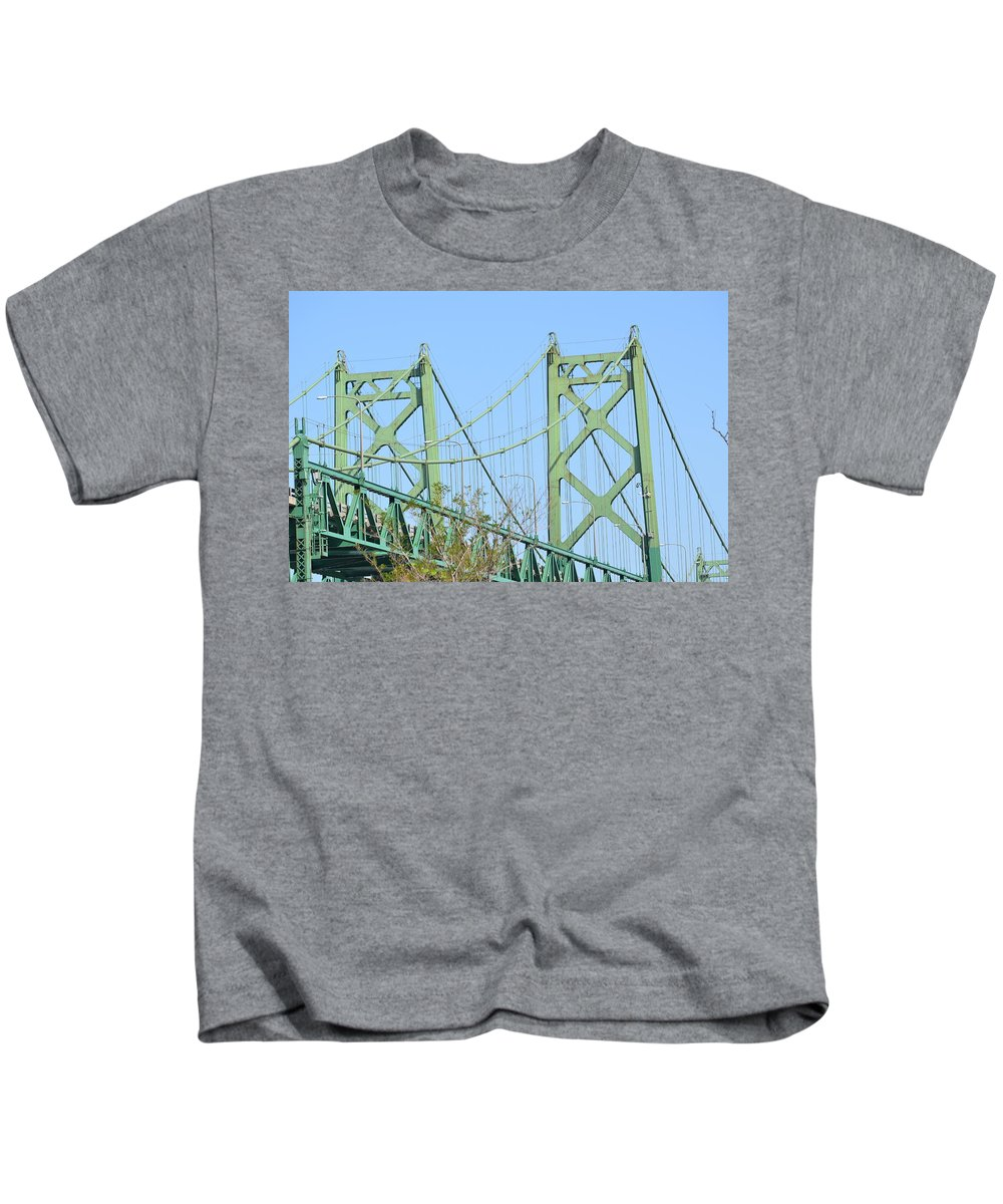I-74 Bridge Kids T-Shirt featuring the photograph Twin Peaks by Tammy Mutka