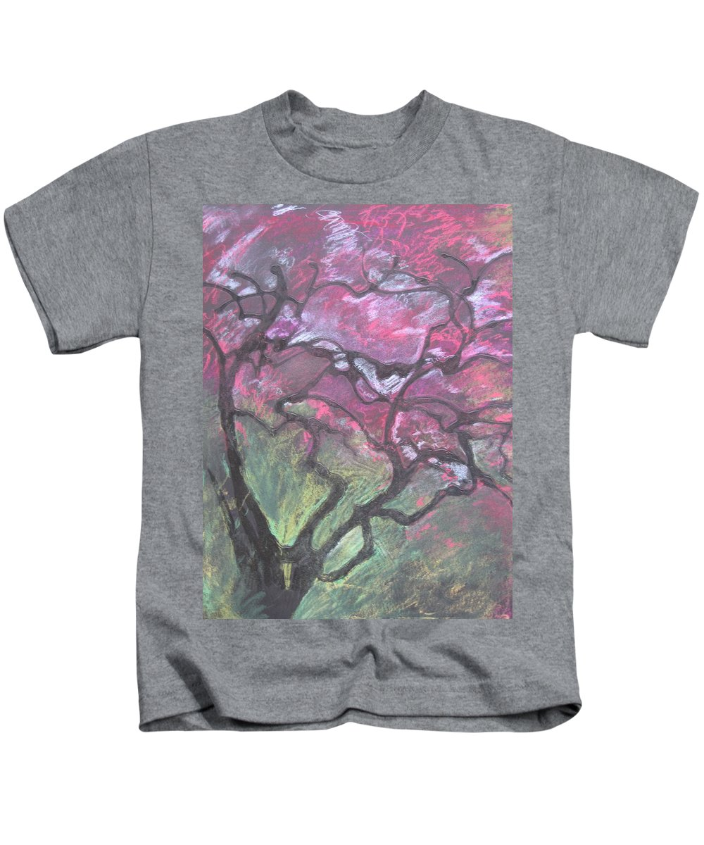 Pastel Kids T-Shirt featuring the drawing Twisted Cherry by Leah Tomaino