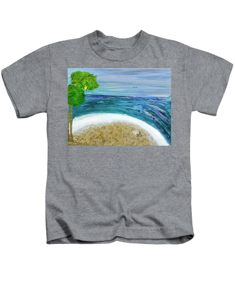 Beach Scene Kids T-Shirt featuring the painting Two By Two At Midnight Blue by Sara Credito