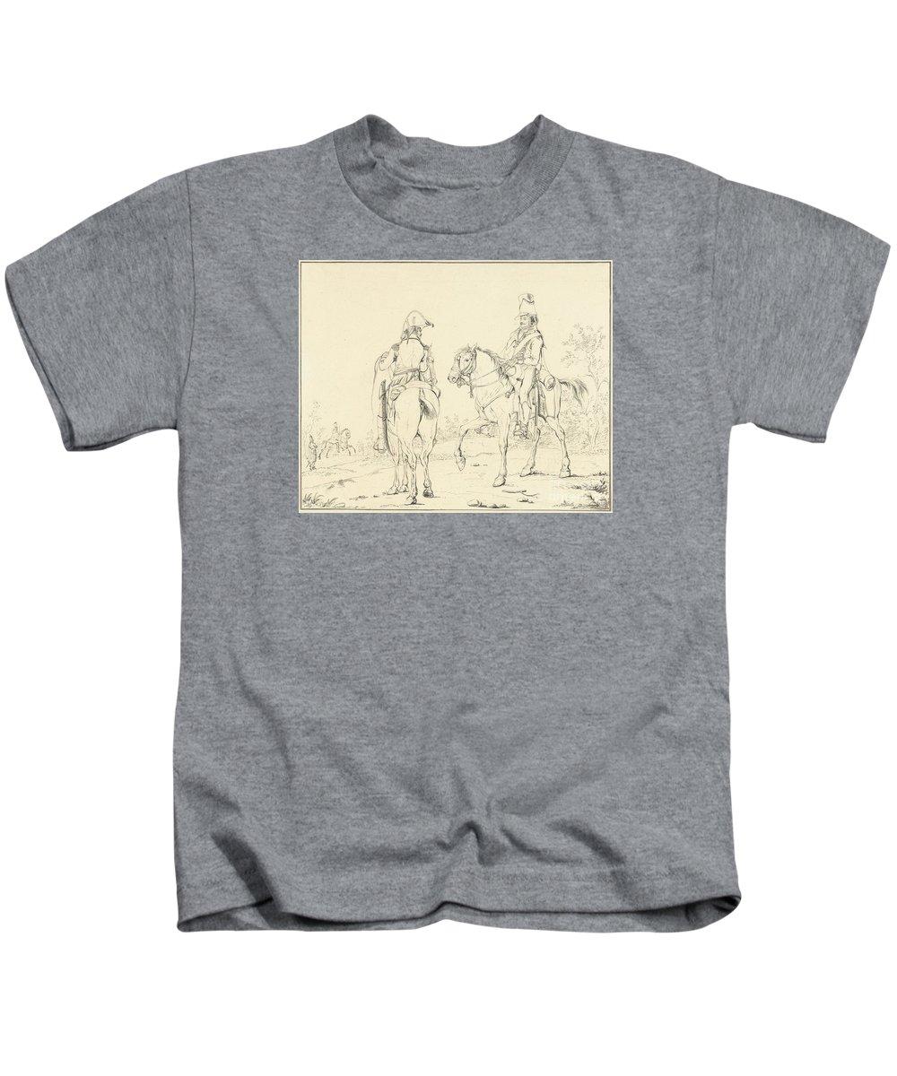 Two French Cavalrymen On Horseback Kids T-Shirt featuring the painting Two French Cavalrymen On Horseback by Celestial Images