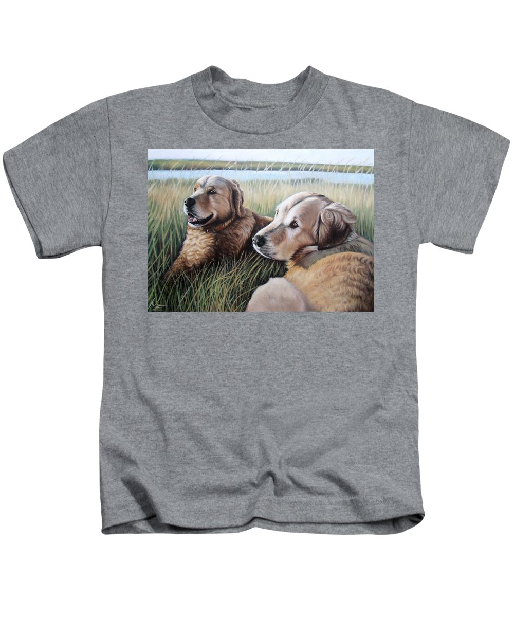 Dogs Kids T-Shirt featuring the painting Two Golden Retriever by Nicole Zeug