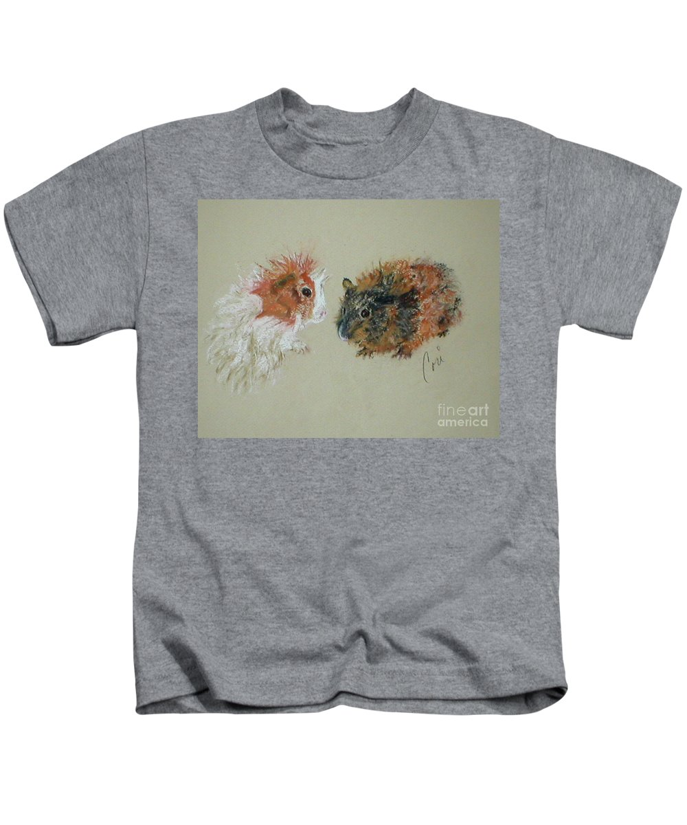 Guineas Kids T-Shirt featuring the drawing Two Guineas by Cori Solomon