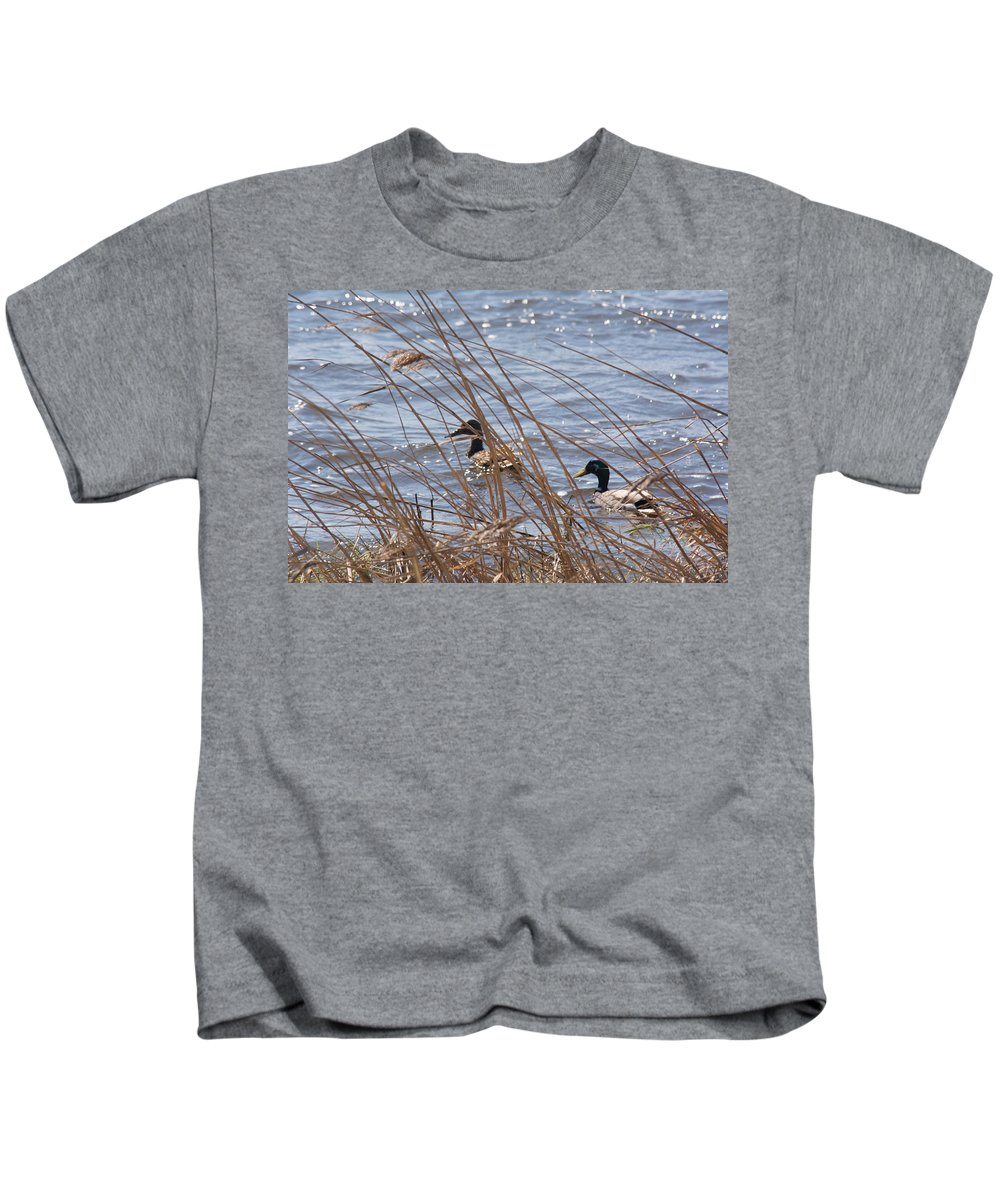 Mallard Kids T-Shirt featuring the photograph Two Mallards by Linda Kerkau