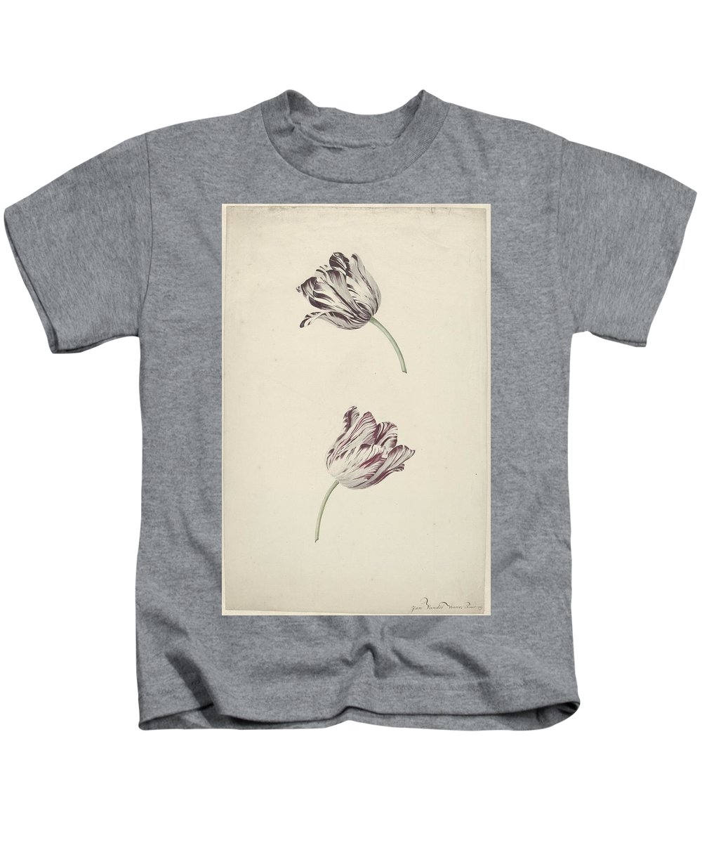 Two Red-and-white Tulips Kids T-Shirt featuring the painting Two Red White Tulips by MotionAge Designs