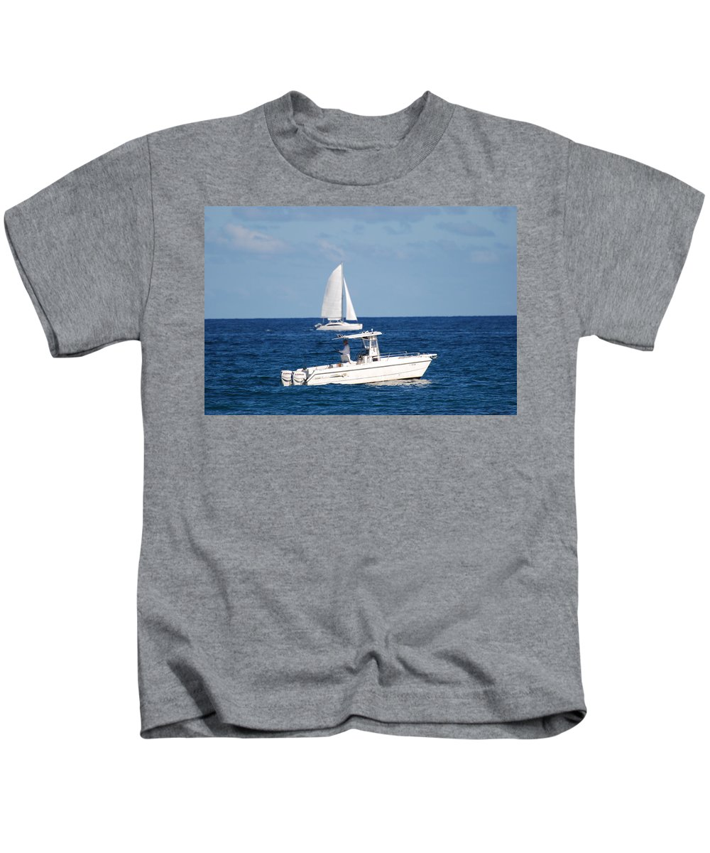 Sea Scape Kids T-Shirt featuring the photograph Two Ships That Pass Thru The Day by Rob Hans