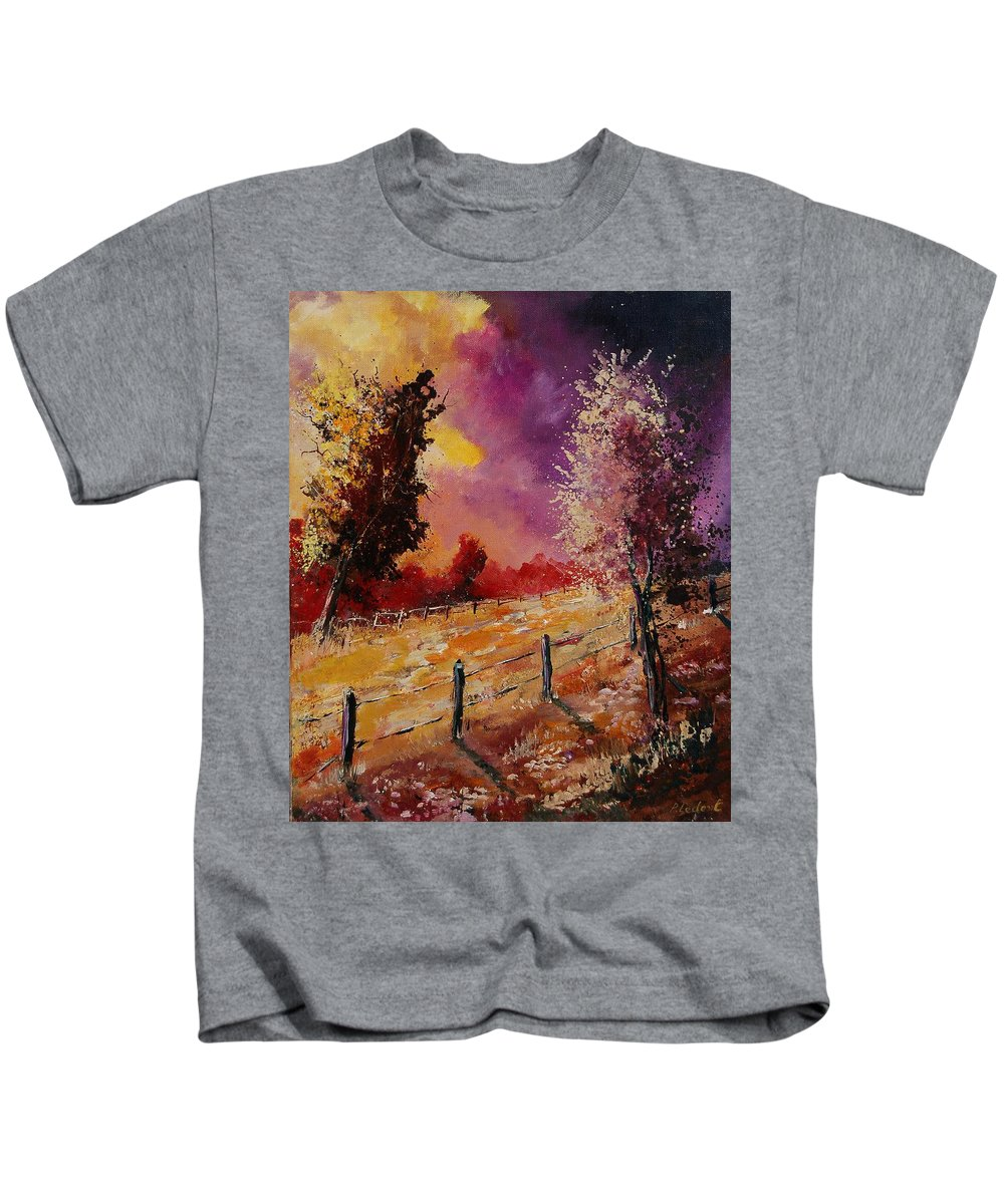 Tree Kids T-Shirt featuring the painting Two Trees Waiting For The Storm by Pol Ledent