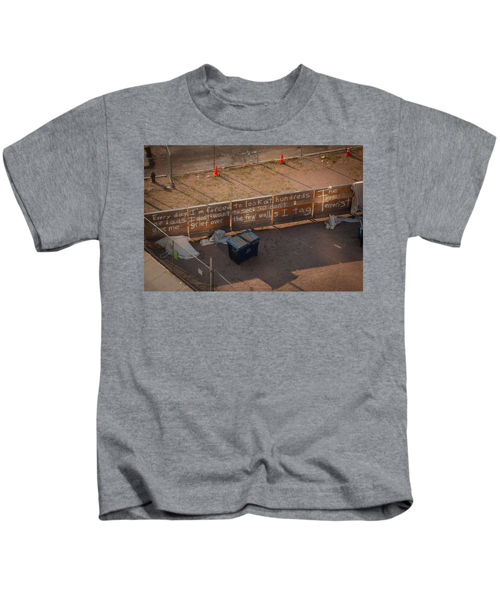 Graffitti Ny Kids T-Shirt featuring the photograph Typo Terrorist by John Stuart