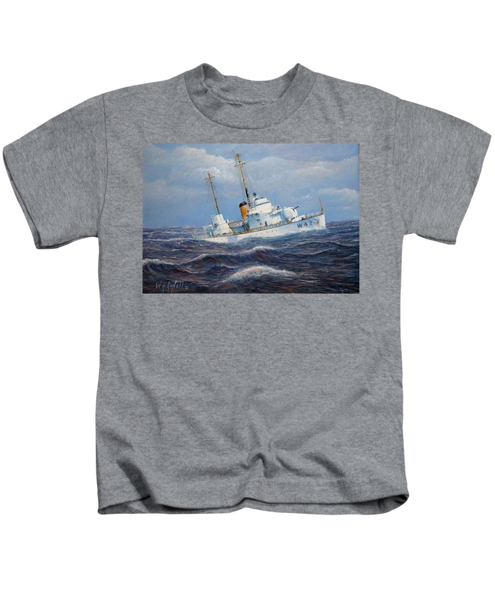 Marine Art Kids T-Shirt featuring the painting U. S. Coast Guard Cutter Sebago Takes A Roll by William H RaVell III