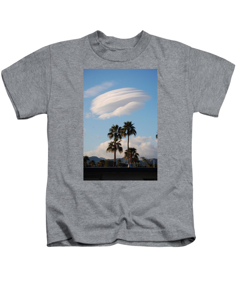 Cloud Kids T-Shirt featuring the photograph Ufo Cloud Over Palm Springs by John Malmquist