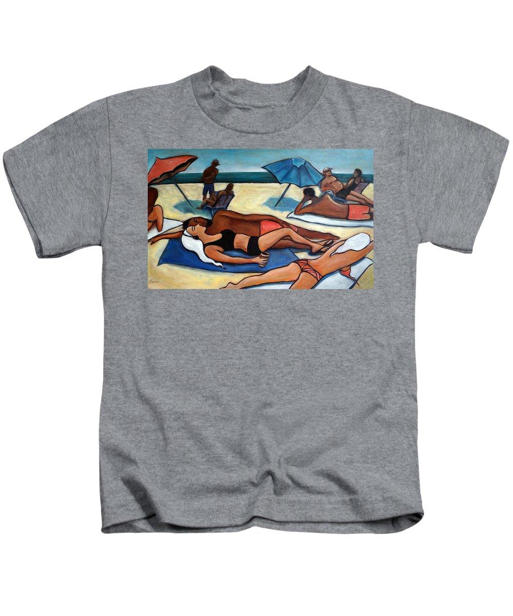 Beach Scene Kids T-Shirt featuring the painting Un Journee a la plage by Valerie Vescovi