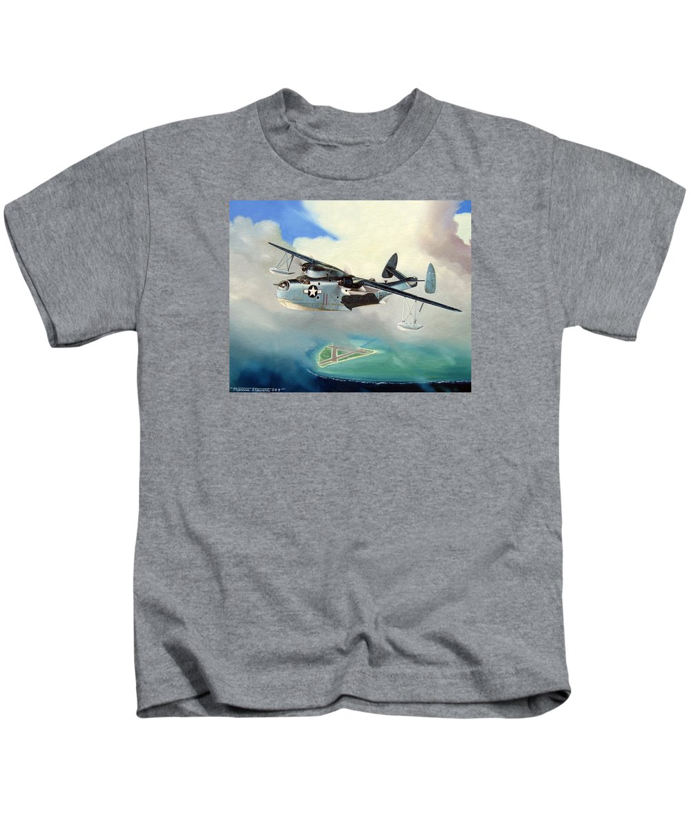 Military Kids T-Shirt featuring the painting Uncle Bubba's Flying Boat by Marc Stewart