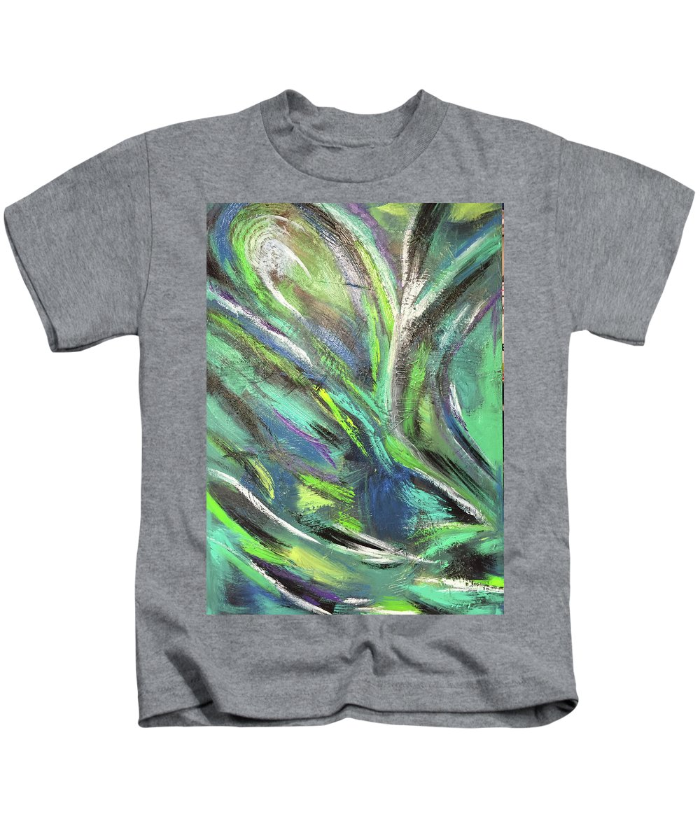 Abstract Green Blue John Cammarano Painting Kids T-Shirt featuring the painting Under Sea by John Cammarano