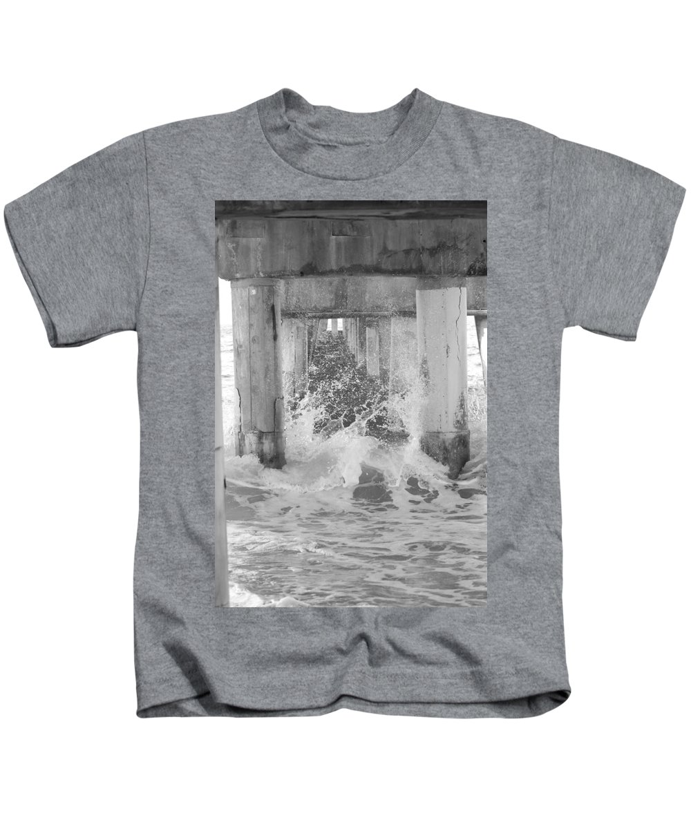 Black And White Kids T-Shirt featuring the photograph Under The Boardwalk by Rob Hans