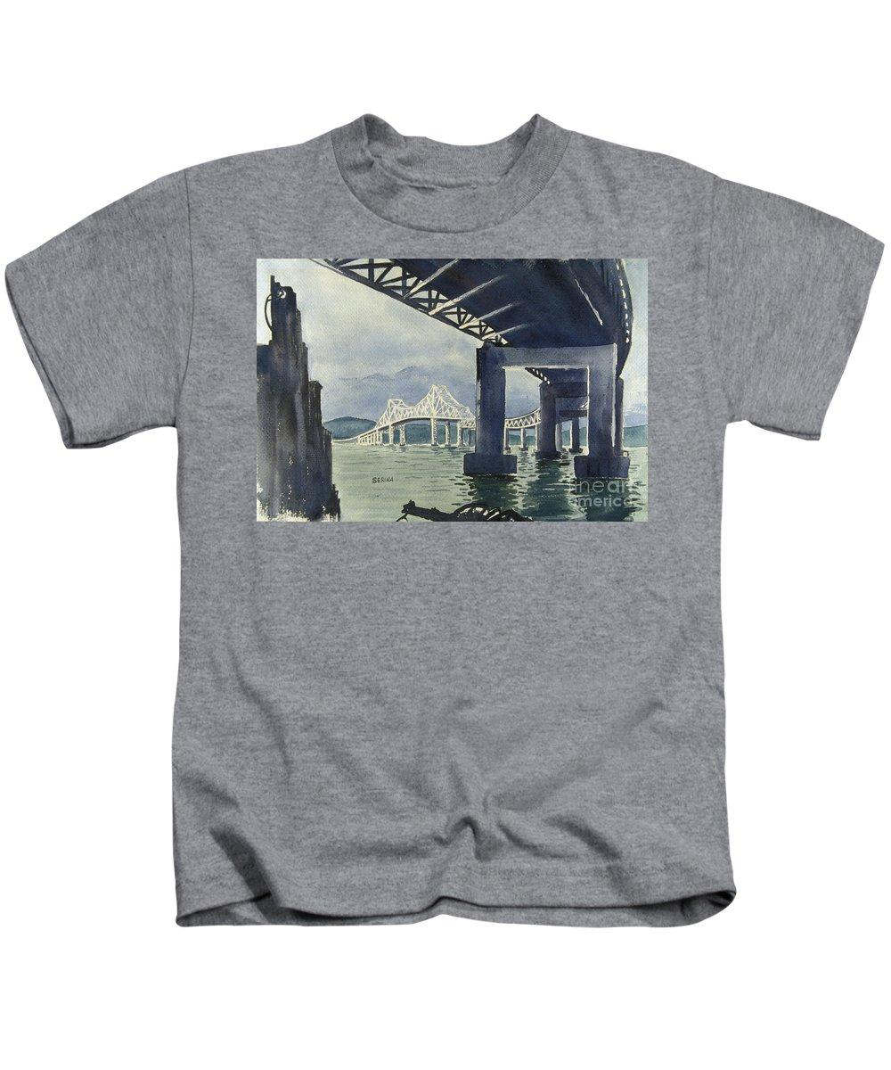 Tappan Zee Bridge Kids T-Shirt featuring the painting Under The Tappan Zee Bridge by Stephen Serina