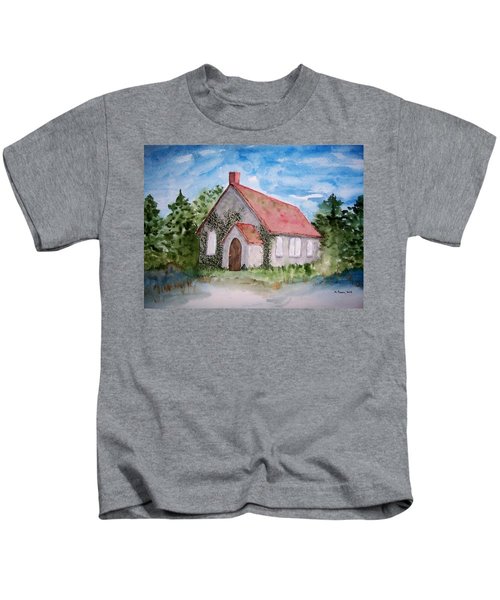 Church Kids T-Shirt featuring the painting Unitarian Church by B Kathleen Fannin