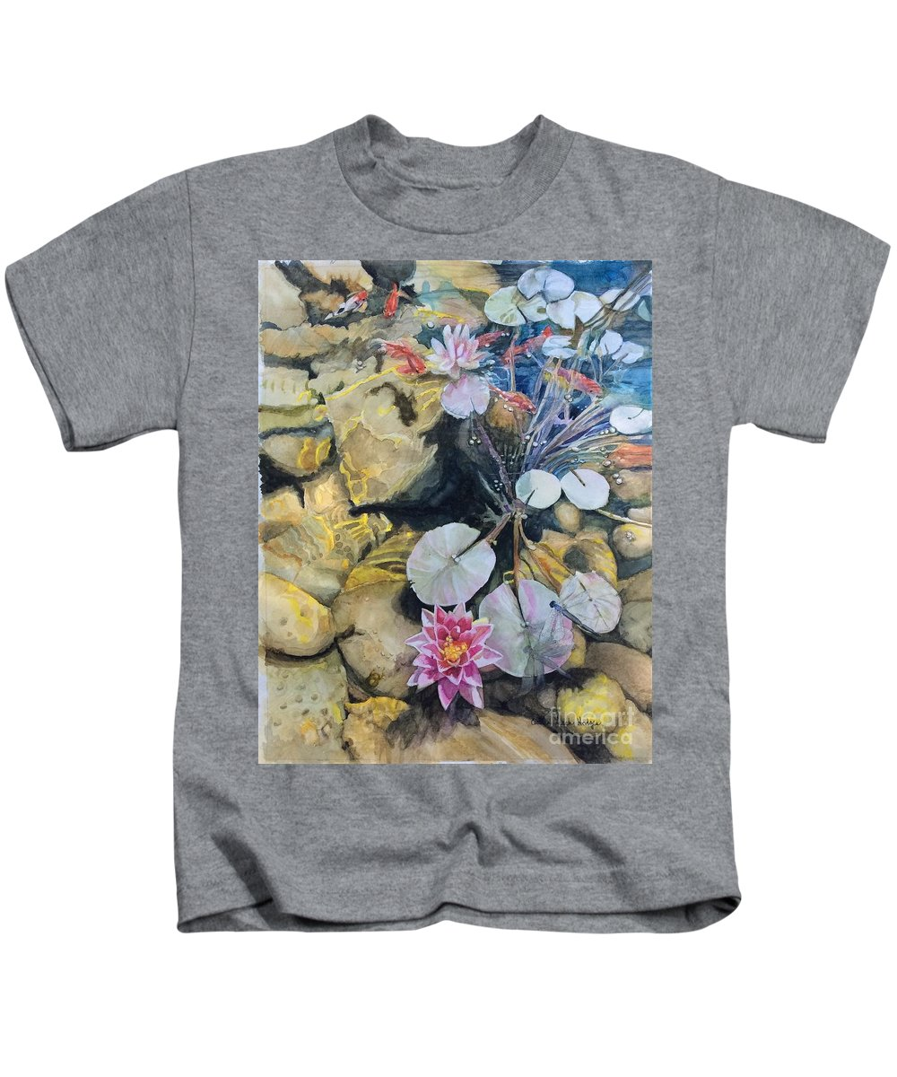 Lily Pads Kids T-Shirt featuring the painting Hide And Seek by Cecilia Hodges