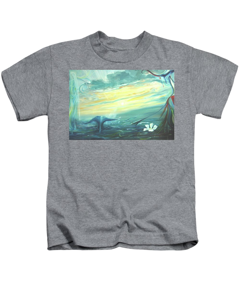 Whale Fluke Kids T-Shirt featuring the painting Unveiling The Daystar by Jennifer Christenson