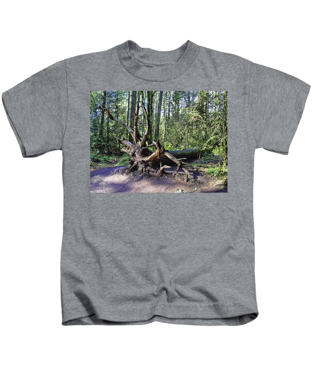 Tree Roots Kids T-Shirt featuring the photograph Uprooted by Lorraine Baum