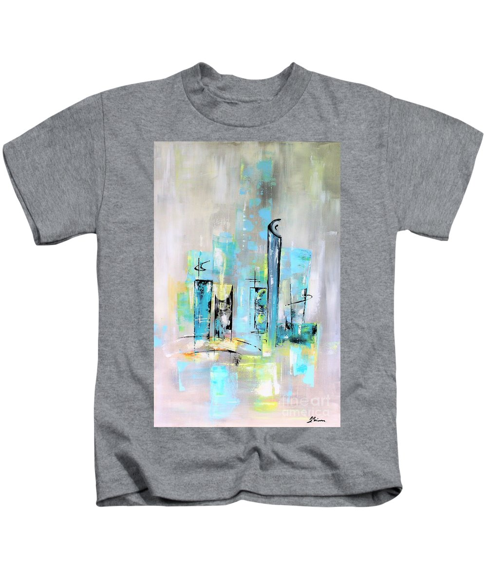 Mid-century Kids T-Shirt featuring the painting Uptown Mid-century Modern Abstract Art by Angela Bisson