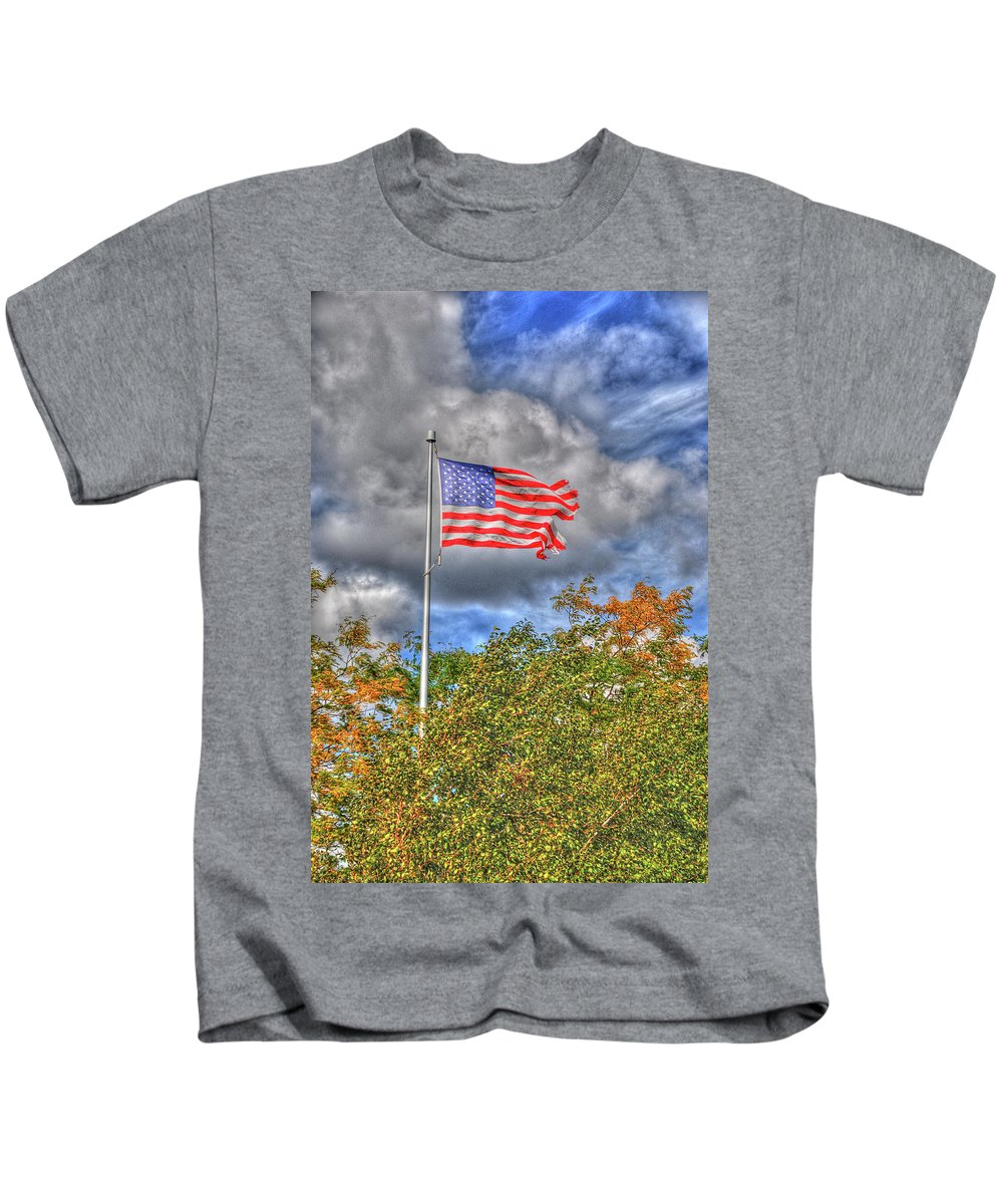 Flags Kids T-Shirt featuring the photograph Us Flag 8091 by Guy Whiteley