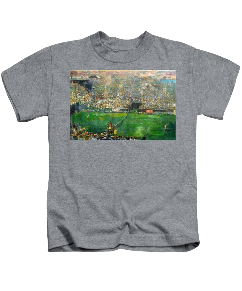 Us Open Kids T-Shirt featuring the painting Us Open Tennis Center, New York 72 X48 In. by Hall Groat Sr