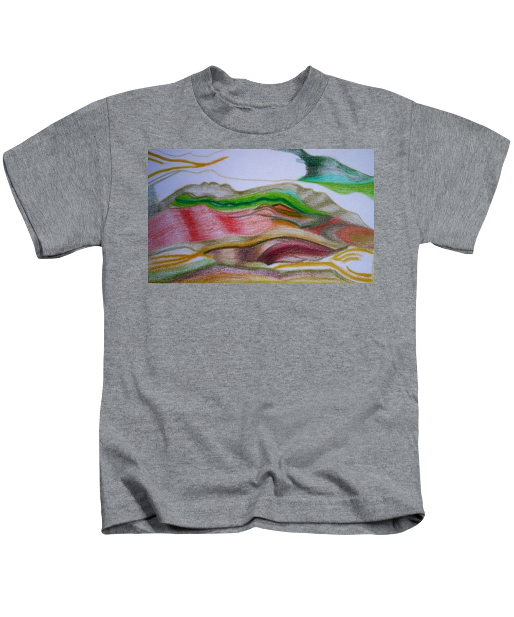 Abstract Kids T-Shirt featuring the painting Valley Stream by Suzanne Udell Levinger
