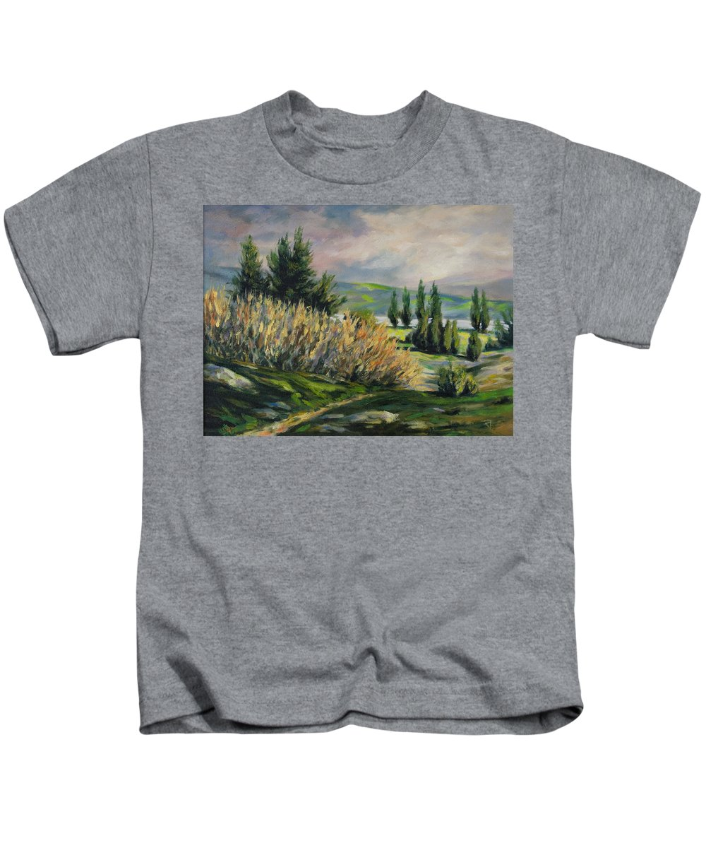 Trees Kids T-Shirt featuring the painting Valleyo by Rick Nederlof