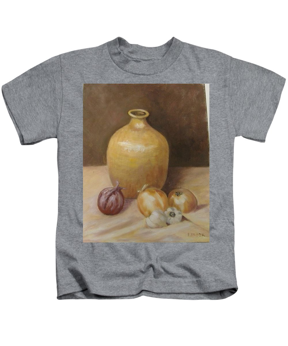 Still Life Kids T-Shirt featuring the painting Vase With Onion by Pat Snook
