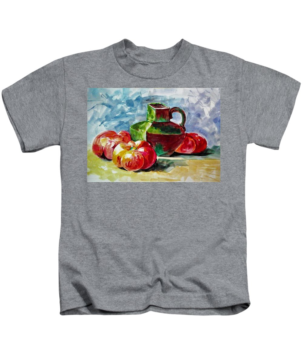 Still Life Kids T-Shirt featuring the painting Vase With Tomatoes by Khalid Saeed