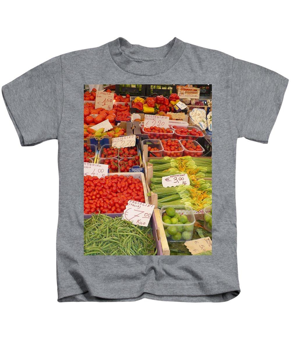 European Markets Kids T-Shirt featuring the photograph Vegetables At Italian Market by Carol Groenen