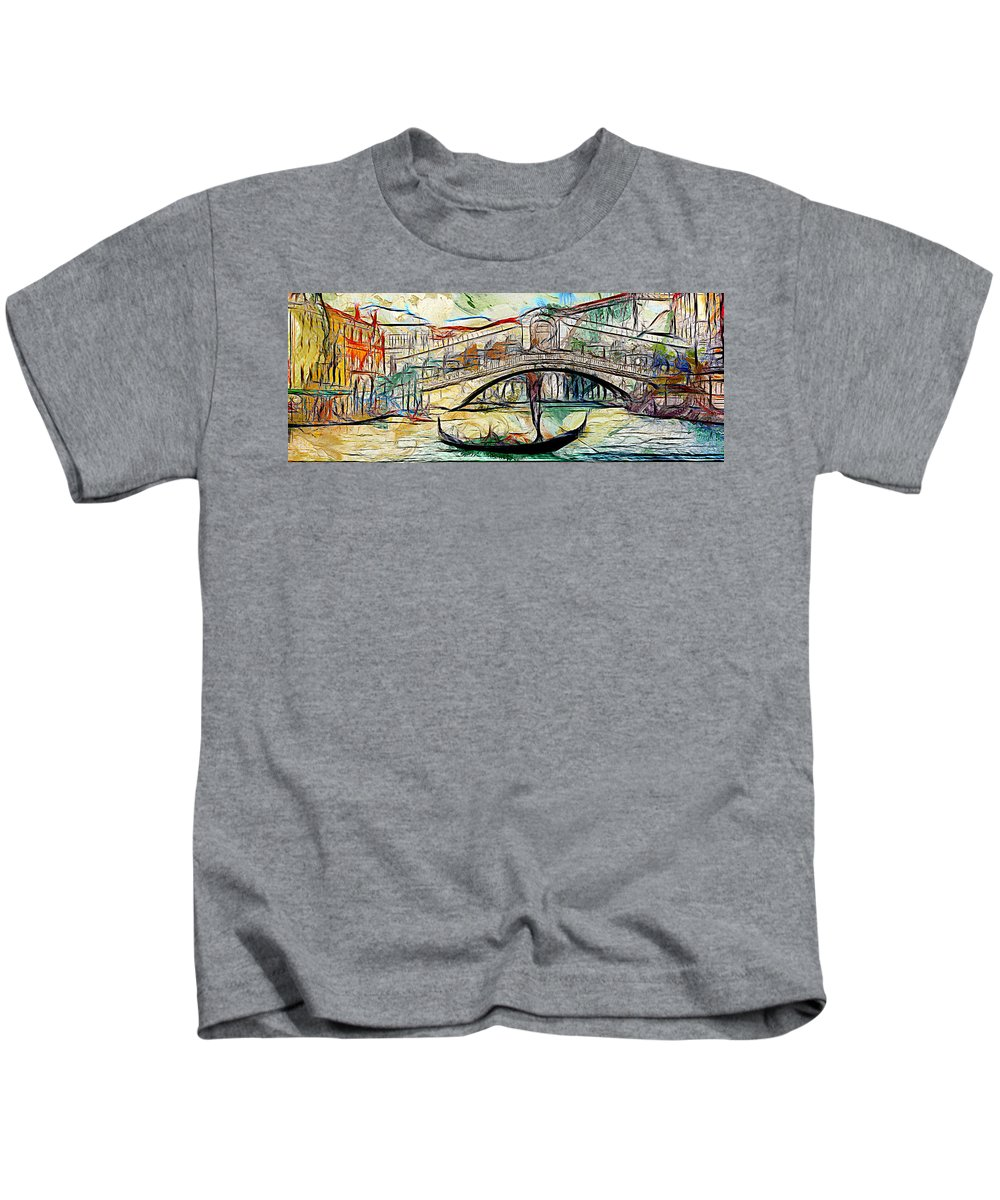 Acrylic Paint Kids T-Shirt featuring the digital art Venice Canals by Galeria Trompiz