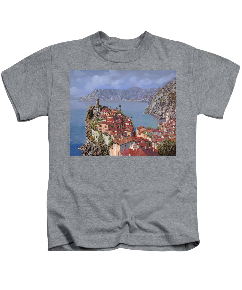 Seascapes Kids T-Shirt featuring the painting Vernazza-cinque Terre by Guido Borelli