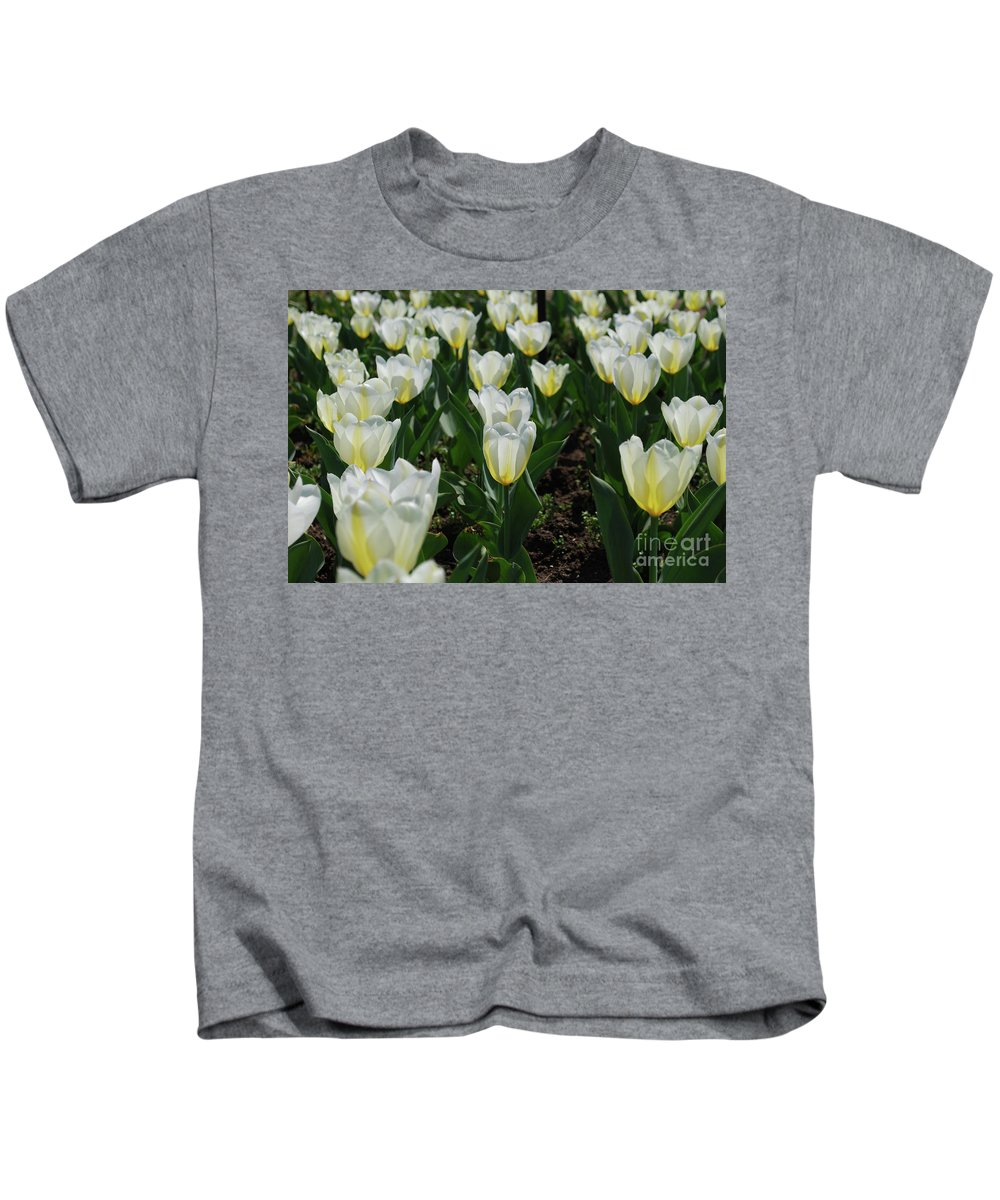 Tulip Kids T-Shirt featuring the photograph Very Pretty Spring Garden With Flowering White Tulips by DejaVu Designs