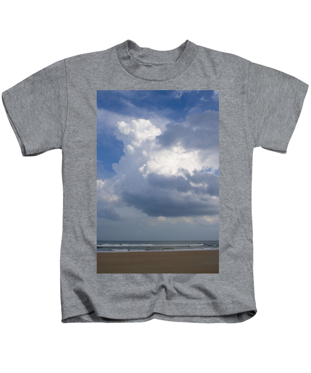 Ocean Nature Beach Sand Wave Water Sky Cloud White Bright Big Sun Sunny Vacation Relax Blue Kids T-Shirt featuring the photograph Vessels In The Sky by Andrei Shliakhau