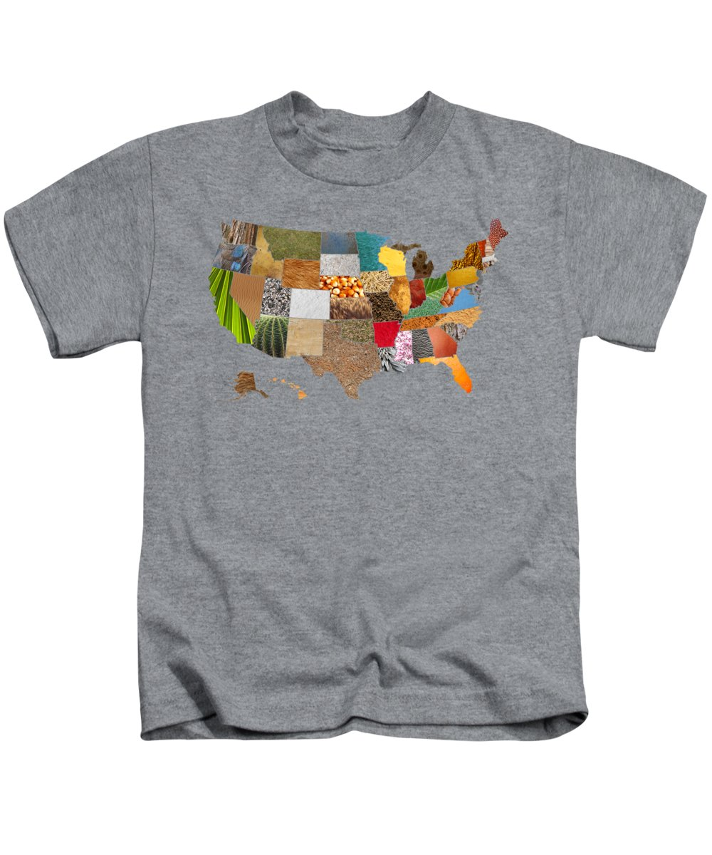 Vibrant Kids T-Shirt featuring the mixed media Vibrant Textures Of The United States by Design Turnpike
