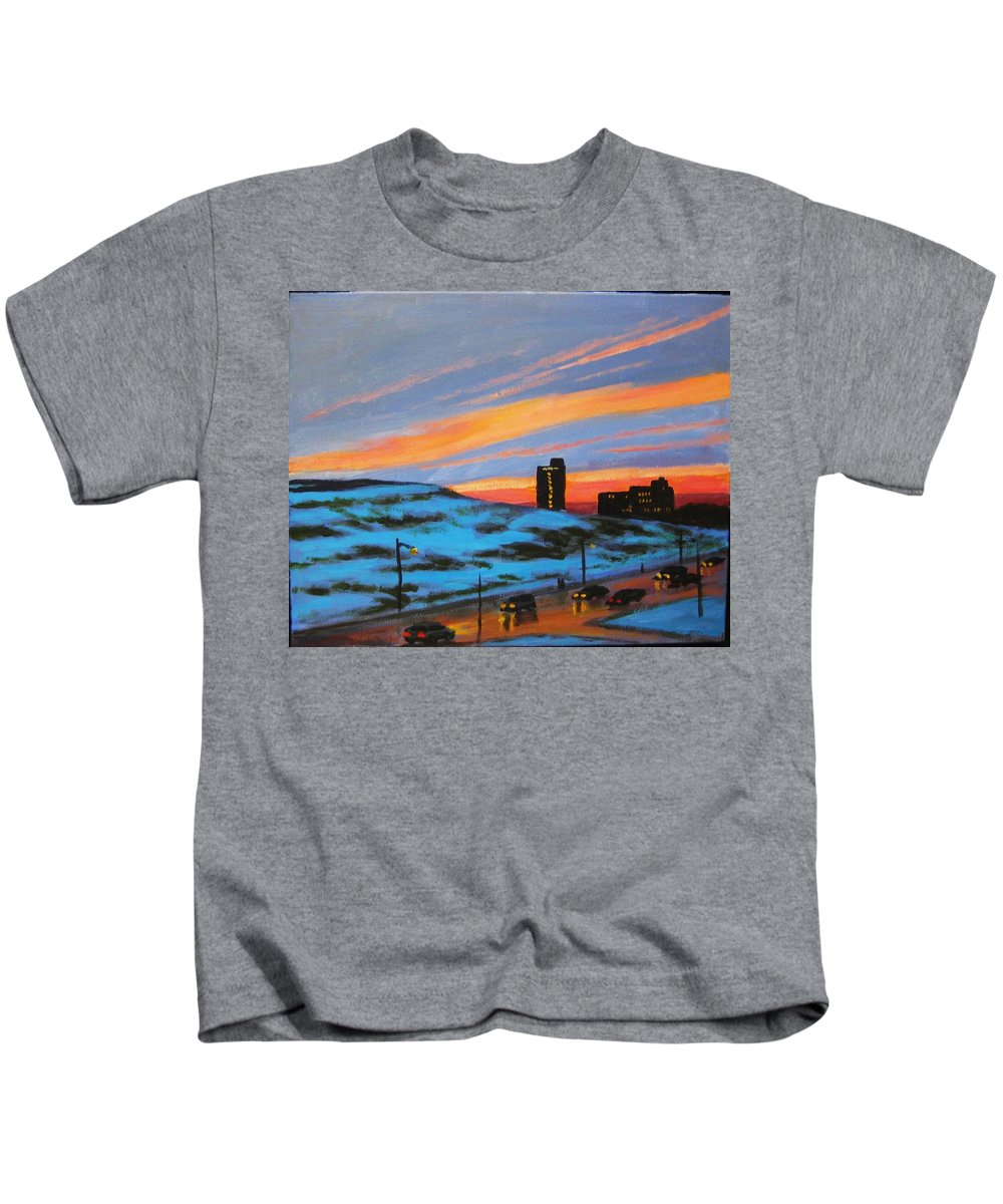City At Night Kids T-Shirt featuring the painting View From My Balcony by John Malone