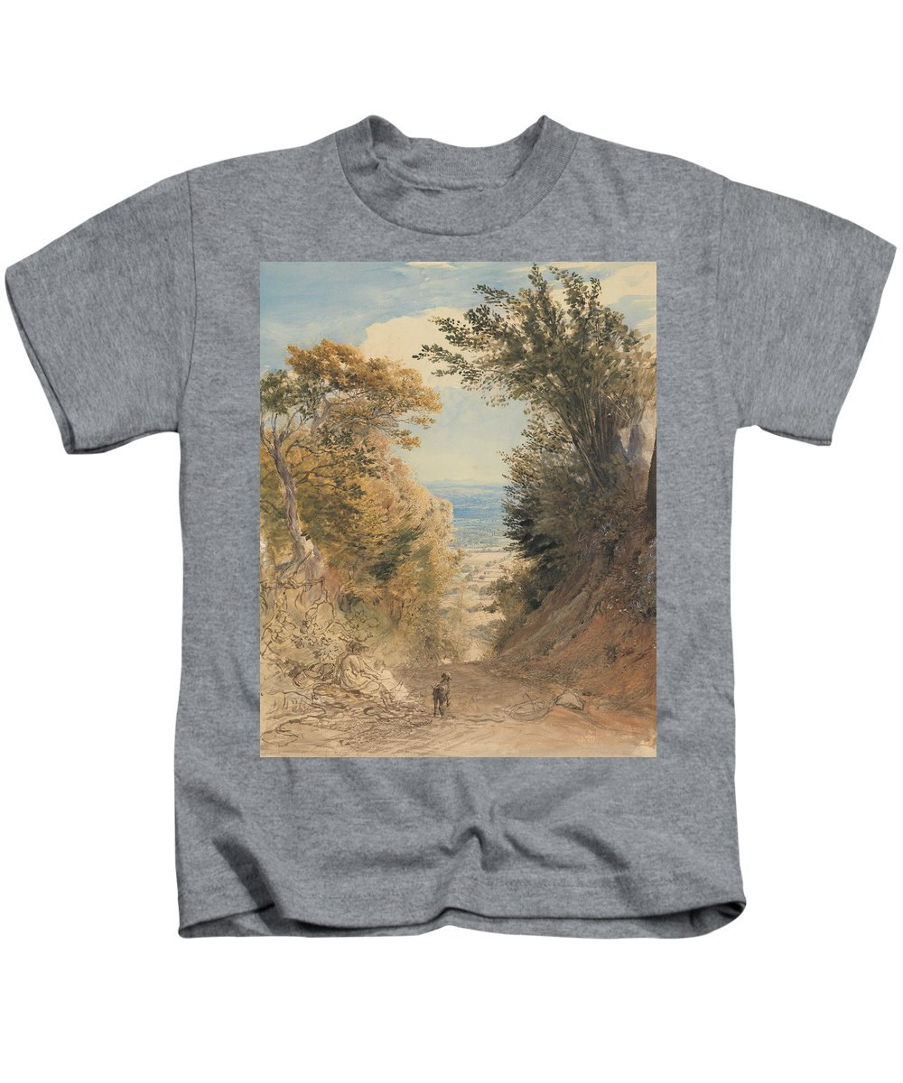 Samuel Palmer Kids T-Shirt featuring the painting View From Rook's Hill, Kent by Samuel Palmer