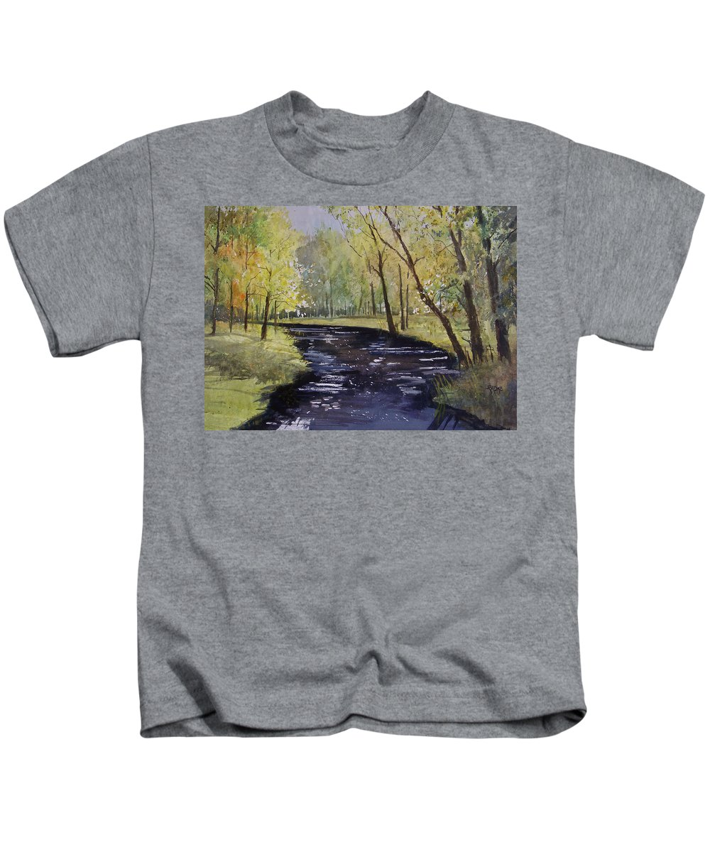 Watercolor Kids T-Shirt featuring the painting View From The Covered Bridge by Ryan Radke