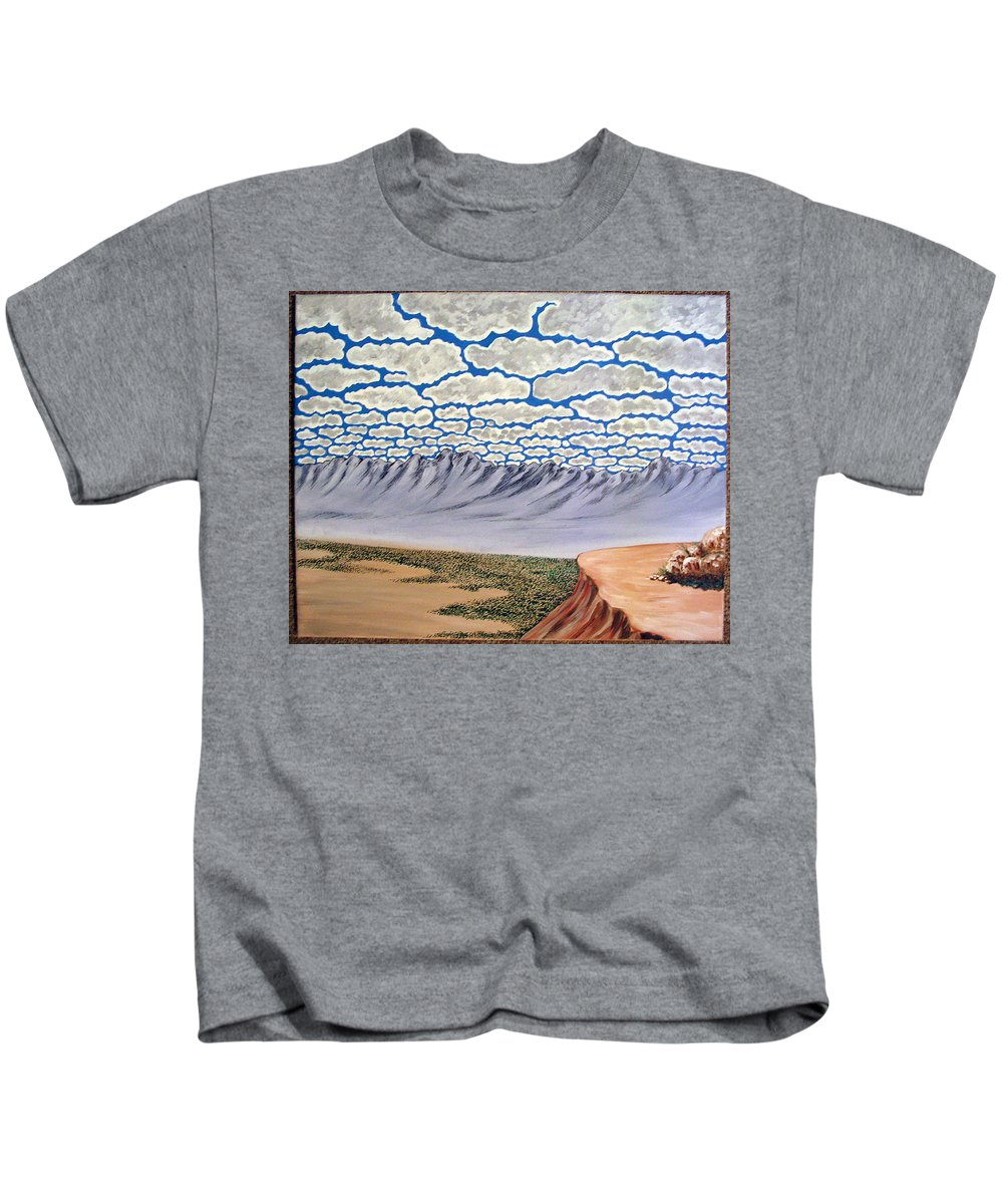Desertscape Kids T-Shirt featuring the painting View From The Mesa by Marco Morales