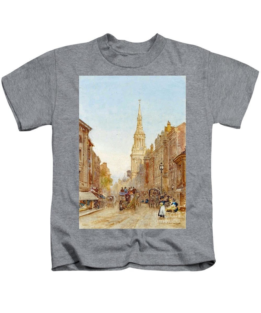 Herbert Menzies Marshall - View Of Church Of Mary-le-bow Kids T-Shirt featuring the painting View Of Church Of Mary by MotionAge Designs