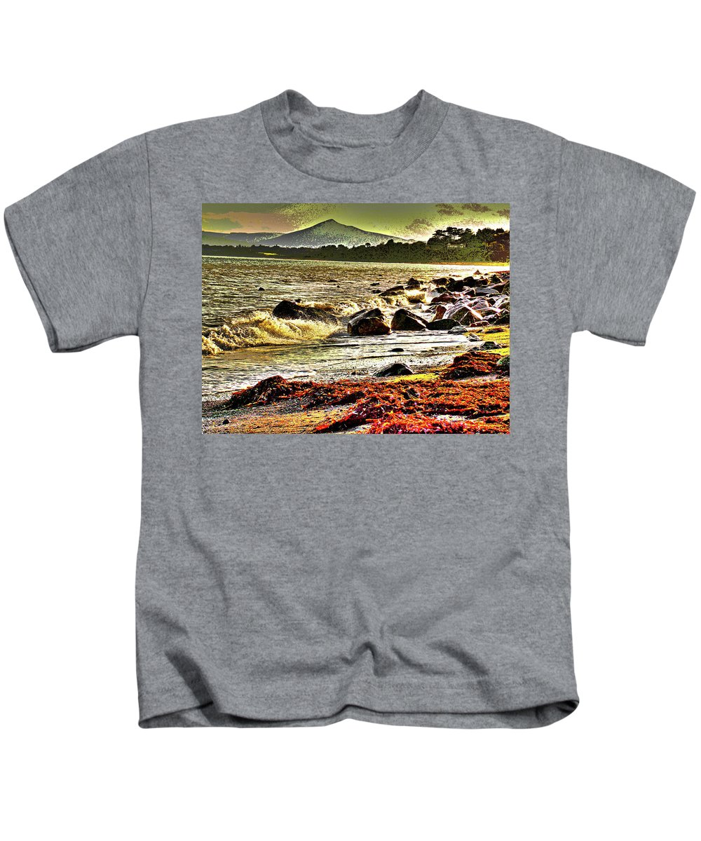 Beach Kids T-Shirt featuring the digital art View Of The Sugarloaf Mountain From Killiney, 1b by Zsuzsanna Szabo