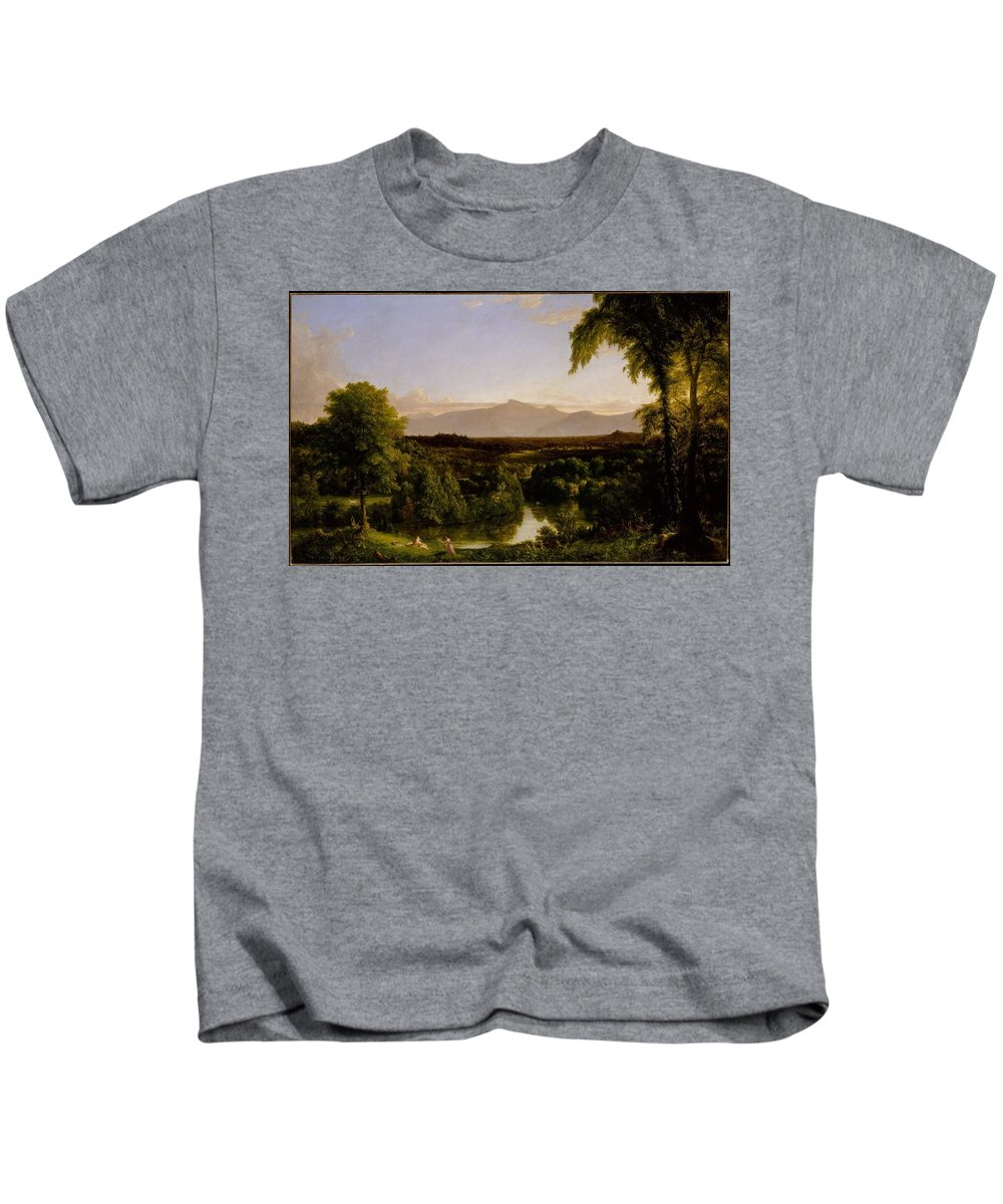 Thomas Cole Kids T-Shirt featuring the painting View On The Catskill by MotionAge Designs