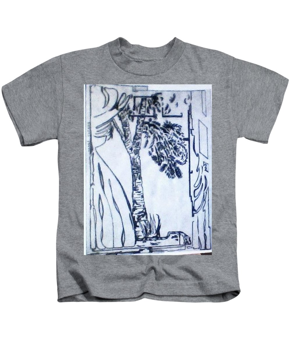 Tree Kids T-Shirt featuring the drawing View Through A Window by Della Turner