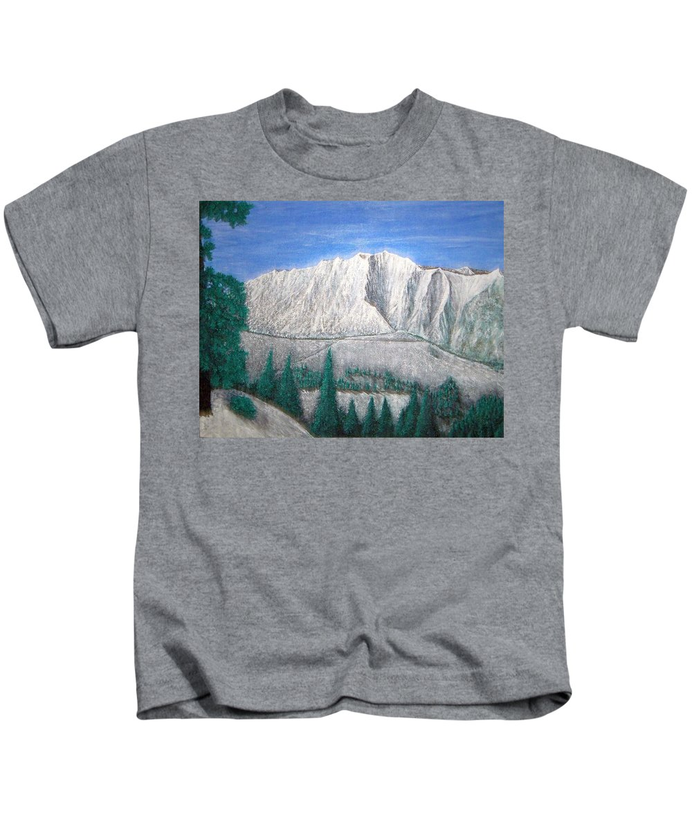 Snow Kids T-Shirt featuring the painting Viewfrom Spruces by Michael Cuozzo