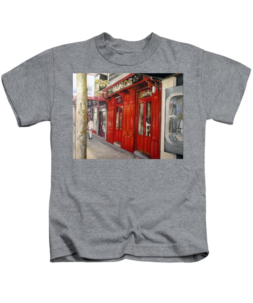 Urban Kids T-Shirt featuring the painting Vinos Sagasta by Tomas Castano