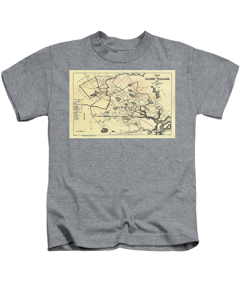 Salem Kids T-Shirt featuring the drawing Vintage 1692 Map Of Salem Massachusetts - 1866 by CartographyAssociates