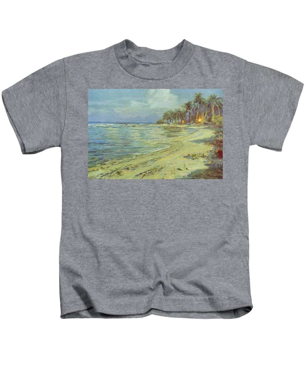 1930 Kids T-Shirt featuring the painting Vintage Hawaiian Art by Hawaiian Legacy Archive - Printscapes