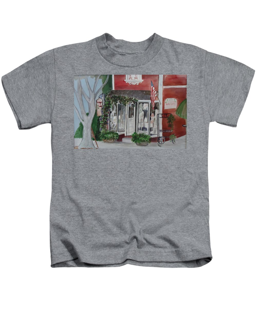 Shop Kids T-Shirt featuring the painting Vintage Lady by Charme Curtin